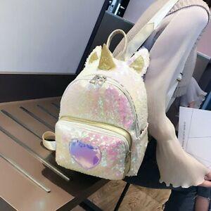 Women's Girl's Unicorn Glitter Bling Sequins Shoulder Crossbody Bag Backpack