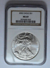 2002 NGC MS69 1 Oz American Silver Eagle Round, Coin, Bullion !!!