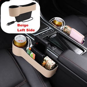 1x Leather Catcher Box Caddy Car Seat Gap Filler Pocket Storage Organizer w/2USB