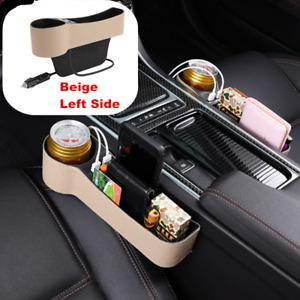 1x Leather Catcher Box Caddy Car Seat Gap Filler Pocket Storage Organizer w/2USB