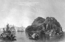 China, SILVER ISLAND Yangtse River JIAO SHAN BUDDHIST ~ 1842 Art Print Engraving