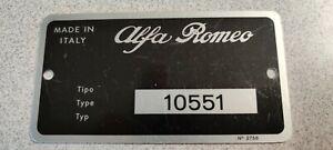 Alfa Romeo 10551 Data Plate (Tipo Plate) for US Spec 1969 1750 GTV