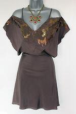 Karen Millen Lovely Brown Butterfly Style Embellished Occasion Dress UK 8 EU 36