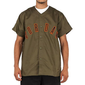 {AT4511-395} Air Jordan NRG Vault Woven Men's Baseball Jersey Olive *NEW*