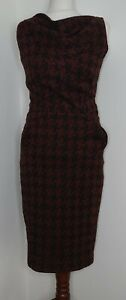Next Brown Hound tooth Check Wiggle Shift Dress Uk8 50s 60s Lindybop, Pockets