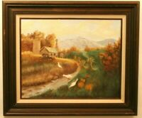 Artwork Original Painting Acrylic on Canvas Autumn Scene Landscape Wood Frame