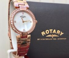 ROTARY Ladies Watch Rose gold Swarovski Crystals Mother Of Pearl RRP£169 VGC (R8