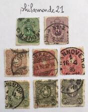 Lot 8 Timbres oblitérés Deutsche Reichs YT DR 37/39 et 41/42 . 1879/80