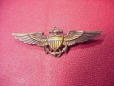 ORIG WWII STERLING RARE FULL SIZE NAVAL AVIATOR WINGS - NAVAL UNIFORM SUPPLY
