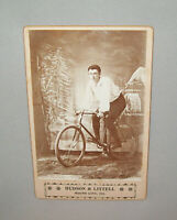 Old Antique Vtg Ca 1880s Man on Bicycle Cabinet Card Photograph Nicely Posed