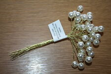 12 x 10mm IVORY PEARL BEAD SPRAYS ON GOLD WIRE STEMS  BRIDAL CAKE CRAFT