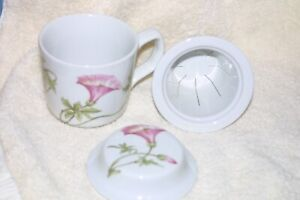 Pillivuyt Tea Cup Infuser Cover 3 Pieces Floral Liseron (Bindweed) France New