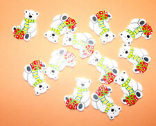12 Flat Wooden Christmas Polar Bear shapes Card Topper Embellishments