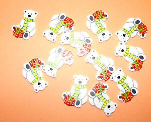 12 Flat Wooden Christmas Polar Bear shapes Card Topper Embellishments