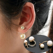 Fashion Women's Stud Earrings Gold Filled Double Real White Freshwater Pearl HOT
