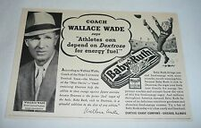 1940 WALLACE WADE Baby Ruth ad ~ Duke Football
