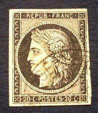 timbre france, n°3, 20c noir, TB, Obl cachet a date, cote 200e