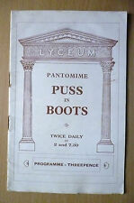 LYCEUM  THEATRE PROGRAMME- PANTOMIME PUSS IN BOOTS by Walter & Fredk. Melville