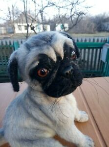Needle-felted-wool-handmade-OOAK-Pug puppy