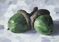 Original Still Life Painting - Two Acorns - (5 x 7 inch) by John Wallie