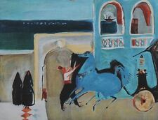 """Nachum Gutman """"Hotel""""  plate signed lithograph This lithograph is limited editio"""