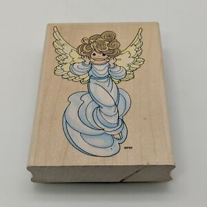 """Stampendous Stamp Precious Moments Flute Angel Wood Mounted 4.25"""" x 2.75"""""""