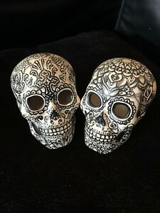 Black And Grey Skulls Figurines  Wedding Cake Topper Day Of The Dead Art