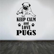 "Pug ""Keep Calm y Love Pugs"" hazlo tú mismo Pared Arte Pegatina/Calcomanía"