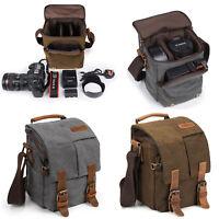 Tan-brown de tamaño pequeño Lona Bolso Para Polaroid ie4038 Cámara Compacta