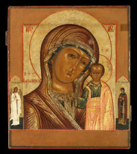 "19 c. ANTIQUE RUSSIAN HAND PAINTED ICON  ""VIRGIN of KAZAN"""