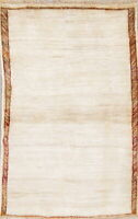 Gabbeh Persian 3' x 5' Wool Oriental Area Rug Hand Knotted Carpet Modern IVORY