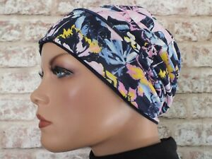 Reversible 2 in 1 - cotton Jersey Hat Head wear for Cancer, Chemo, Hair Loss,