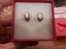 Brand new tiny Silver earrings with pretty pink moonstone look stones +gift box