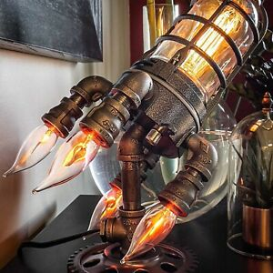 Rocket Ship Lamp Steampunk Industrial Table Light for Bar Bedroom Kids Gifts