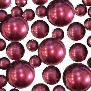 Floating Burgundy Pearls - No Hole Jumbo & Assorted Sizes Vase Decorations