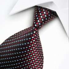 UK0013 Red Blue White Lattice  New Silk Classic JACQUARD Woven Men's Tie Necktie