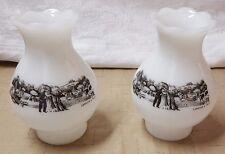 Vintage Pair Currier & Ives Milk Glass Hurricane Dresser Table Lamp Shade Globe