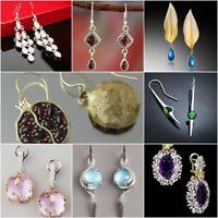 925 Silver Ruby Topaz Moonstone Ear Stud Hook Dangle Drop Woman Fashion Earrings