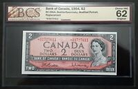 1954 Bank of Canada $2 Dollars Replacement *B/B BCS CH.UNC62 Original BC-38bA