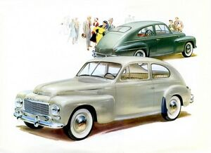 1961 Volvo Coupe Showroom Wall illustration 13 x 18 Giclee Print