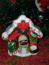 2009 Danbury Mint Annual Pug Ceramic Christmas Ornament Decorated Dog House
