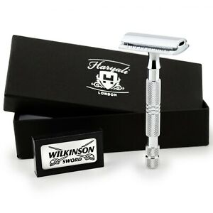 Traditional Men Double Edge Chrome Safety Razor Classic Shave With 5 Blades New