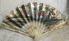 ANTIQUE FOLDING HAND FAN CHINESE HAND PAINTED PAPER ROMANTIC SCENE