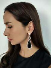 925 Silver 88.85 Carat Black Onyx Rock Crystal Cubic Zirconia Dangle Earrings