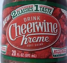2 Bottle 20 oz CHEERWINE KRISPY KREME Soda Drink Doughnuts 🍩Free Shipping. Rare