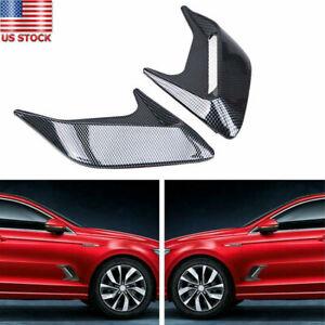 2Pcs Universal Decorative Trim Car Air Flow Intake Hood Scoop Bonnet Vent Covers