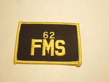 Vintage 62 FMS US Air Force Unit Military Embroidered Iron On Patch Black Yellow