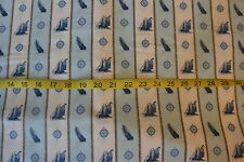 Sail Away Cotton Fabric Stripe Sailboats & Compass Quilting Treasures .50 Yd L