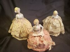 3 VINTAGE - PIN CUSHION HALF DOLL PORCELAIN LADIES -
