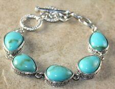 Turquoise Teardrop Bracelet Silver Vintage Style Green